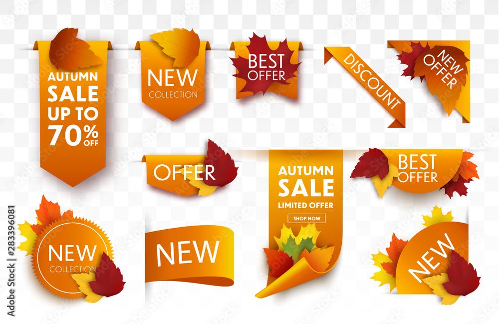 Fototapety, obrazy: Autumn sale tags