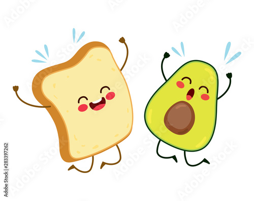 Cute best friends toast and avocado characters jumping happy Tapéta, Fotótapéta