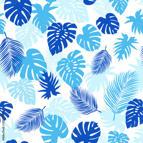 Blue tropical leaves over white background seamless vector illustration