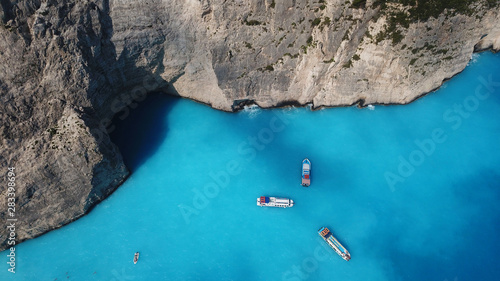 Obraz na plátně Aerial drone panoramic breathtaking view of iconic beach of Navagio or Shipwreck