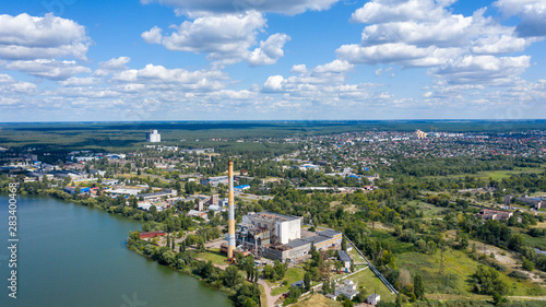 Printed kitchen splashbacks Turkey Aerial panoramic view of Factory or Plant Industrial Area with many pipes or chimneys with smoke. Heavy industry of Metallurgical Production industry landscape from drone