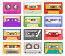 Cassettes. Different Color Music Tape Retro Audio Cassette. Old School 90s Record Technology Vintage Media Device. Vector Set