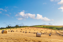 An Idyllic Countryside View, With Hay Bales In A Field In The Summer Sunshine