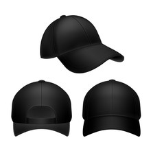 Black Baseball Cap. Empty Hat Mockup, Headwear Caps In Back, Front And Side View. Corporate Uniform Clothes Cap. Realistic Vector Set