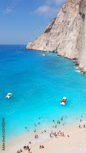 Fotomural Aerial drone view of iconic beach of Navagio or Shipwreck voted one of the most