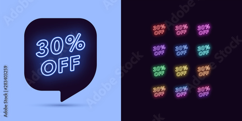 Fotomural Neon Discount Tag, 30 Percentage Off. Offer Sale