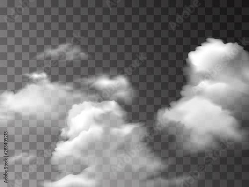 Poster Fumee White fog texture isolated on transparent background. Steam special effect. Realistic vector fire smoke or mist