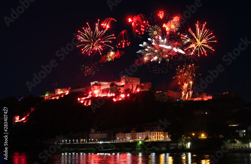 Foto op Plexiglas Artistiek mon. Rhein in Flammen, Koblenz, Festung Ehrenbreitstein
