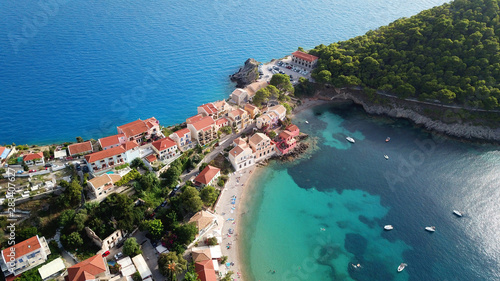 Foto auf AluDibond Blau türkis Aerial drone bird's eye view photo of beautiful and picturesque colorful traditional fishing village of Assos in island of Cefalonia, Ionian, Greece