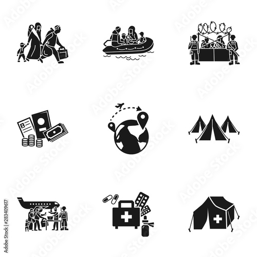 Canvas Print Refugee charity icon set
