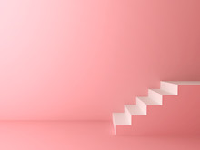 Pink Pastel Color Room Background With White Stairs 3D Rendering