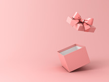 Blank Open Gift Box Or Present Box With Pink Ribbon Bow Isolated On Pink Pastel Color Background With Shadow 3D Rendering
