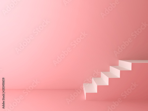 Fotomural Pink pastel color room background with white stairs 3D rendering