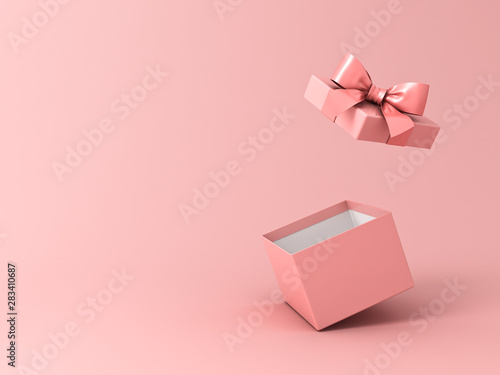 Obraz Blank open gift box or present box with pink ribbon bow isolated on pink pastel color background with shadow 3D rendering - fototapety do salonu