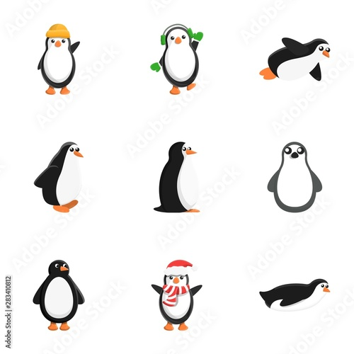 Acrylic Prints Birds, bees Penguin character icon set. Cartoon set of 9 penguin character vector icons for web design isolated on white background
