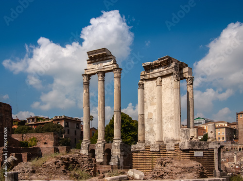 Temple of Castor and Pollux, Roman Forum, Rome, Italy. Wallpaper Mural