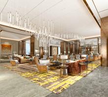 3d Render Of Hotel Lobby Reception