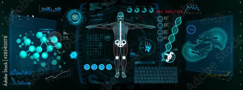 Fotografia, Obraz Cyborg Scan, Futuristic Interface HUD, GUI