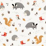 Fototapeta Fototapety na ścianę do pokoju dziecięcego - Seamless pattern of cute woodland animals and birds with autumn floral elements