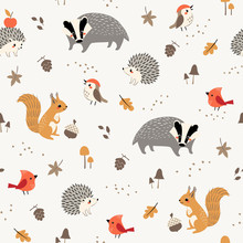 Seamless Pattern Of Cute Woodland Animals And Birds With Autumn Floral Elements