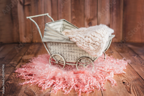 Baby stylish vintage stroller for babies. Canvas Print