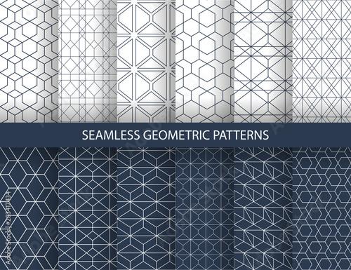 Valokuvatapetti Set of seamless geometric patterns
