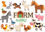 set of isolated cute farm animals- vector illustration, eps