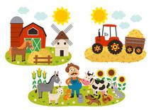 Set Of Isolated Farm Scenes - Vector Illustration, Eps