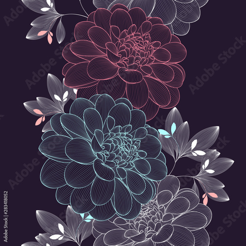 Carta da parati Seamless pattern with dahlia flowers