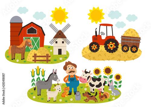 set of isolated farm scenes - vector illustration, eps Fotobehang