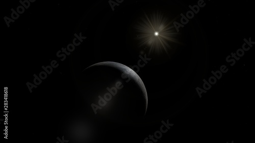 Fototapeta Picture of Ceres the Dwarf Planet and Sun obraz na płótnie