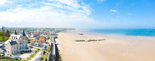 Panoramique sur la plage d'Arromanches-les-Bains
