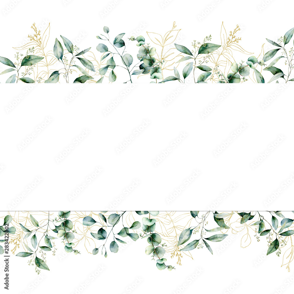 Fototapety, obrazy: Watercolor gold eucalyptus seamless banner. Hand painted eucalyptus branch and leaves isolated on white background. Line art floral illustration for design, print, fabric or background.