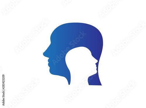 psychiatrist head inside a head logo design illustration on white background Poster Mural XXL