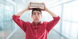 student with books at school and stress expression - 283423496