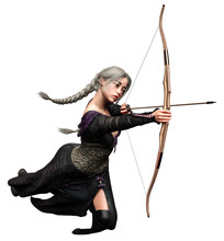 Elf Archer Woman With Bow And Arrow, 3D Illustration, 3D Rendering