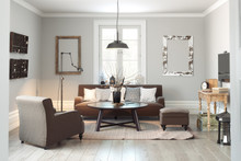 Scandinavian Contemporary Style Living Room Area Interior With Simplistic Accents. 3d Rendering