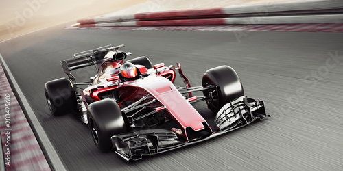 Poster F1 Motor sports competitive team racing. Fast moving generic race car racing down the track with motion blur. 3d rendering with room for text or copy space