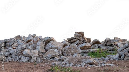 Cuadros en Lienzo  Isolated concrete debris on the ground.