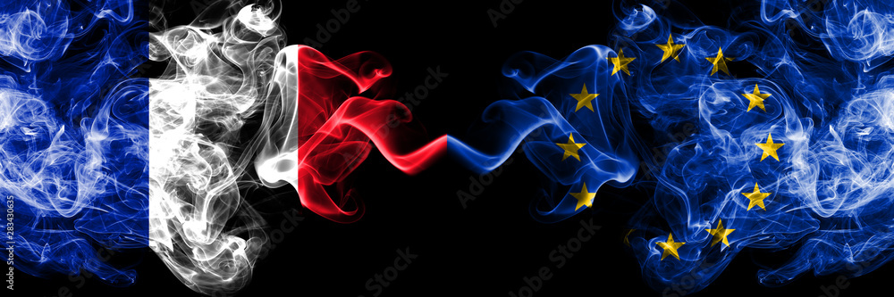 Fototapeta France vs European Union, EU smoky mystic flags placed side by side. Thick colored silky abstract smoke banner of French and European Union, EU