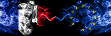 France Vs European Union, EU Smoky Mystic Flags Placed Side By Side. Thick Colored Silky Abstract Smoke Banner Of French And European Union, EU