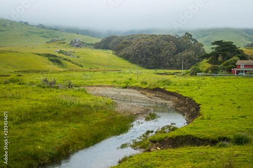 Deurstickers Afrika landscape with river