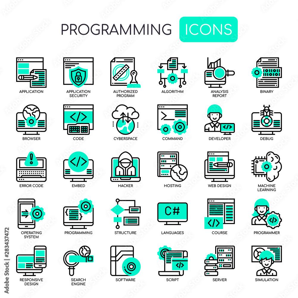 Fototapeta Programming , Thin Line and Pixel Perfect Icons