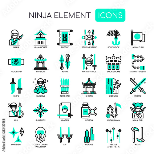 Ninja Elements , Thin Line and Pixel Perfect Icons Canvas Print