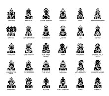 Hindu Gods , Thin Line And Pixel Perfect Icons