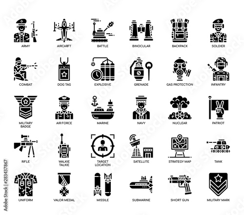 Photo Military Elements , Glyph Icons