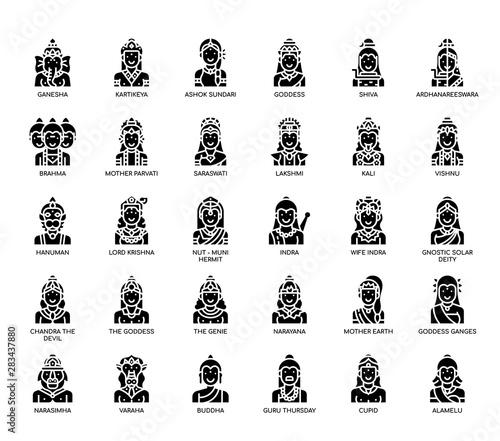 Fototapeta Hindu Gods , Thin Line and Pixel Perfect Icons
