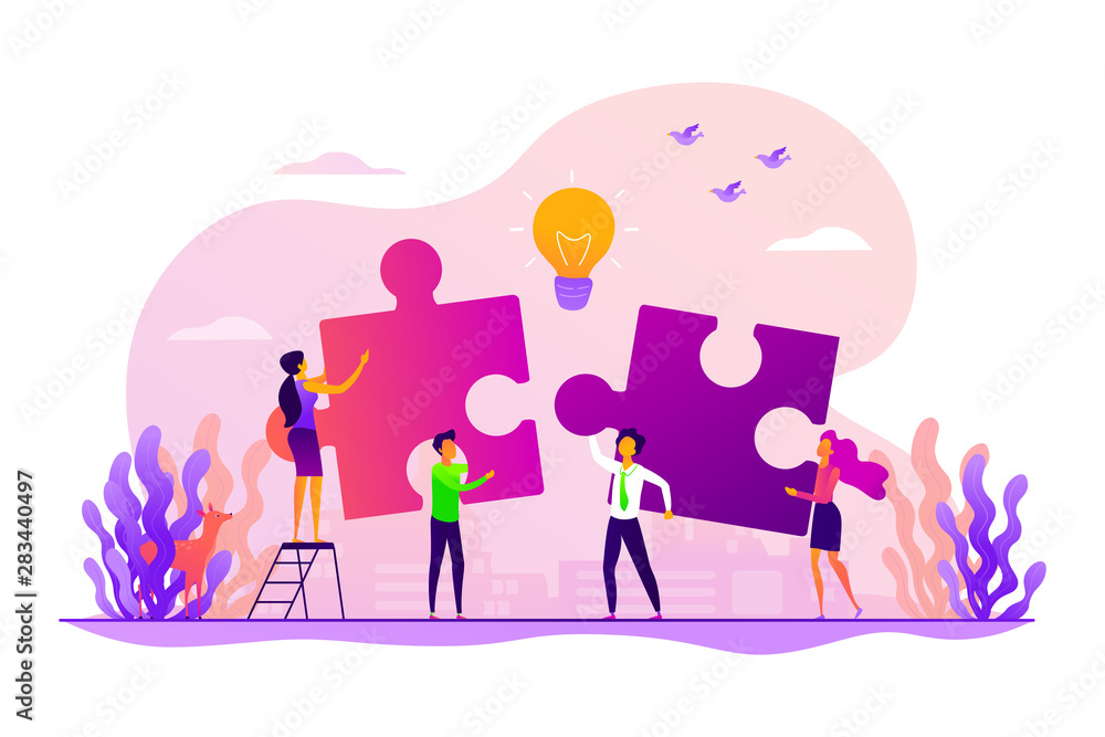Fototapeta Finding solution, problem solving. Teamwork and partnership. Working team collaboration, enterprise cooperation, colleagues mutual assistance concept. Vector isolated concept creative illustration