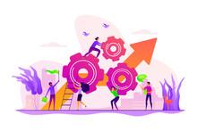 Startup Work, Success. Effective Team-working, Teamwork Projects, Teamwork Skills, Teamwork Solutions, Effective Collaboration, Goal Achievement Concept. Vector Isolated Concept Creative Illustration