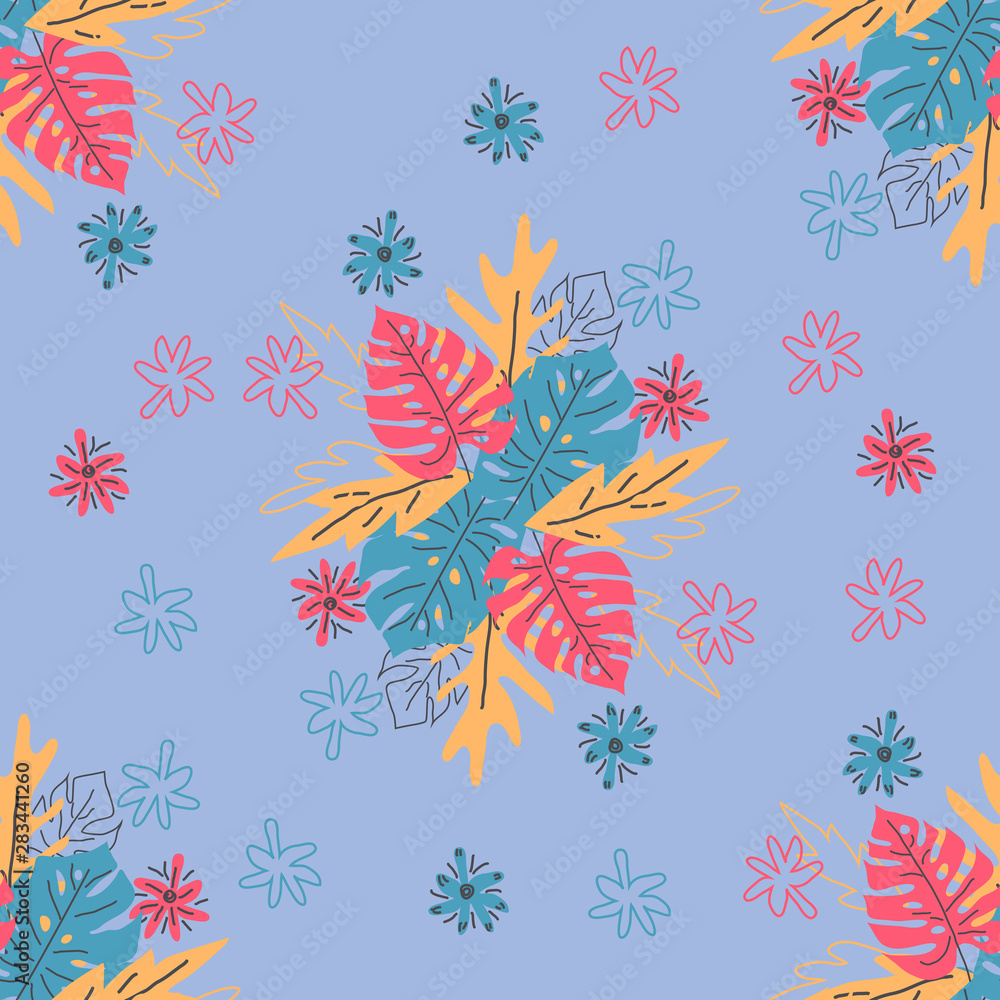 Abstract drawing in scandinavian style. Modern illustration with tropical leaves, grunge, marbling textures, doodles, minimal elements. Creative seamless pattern with hand drawn shapes